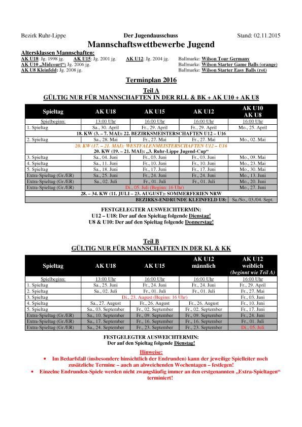 Terminplan Jugend-Mannschaften 2016  1